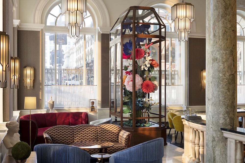 Image caption: Jacu Strauss commissioned a bouquet of oversized fabric flowers from Ukraine, which has become a statement piece in the public area of the hotel. | Image credit: Riggs Washington D.C.