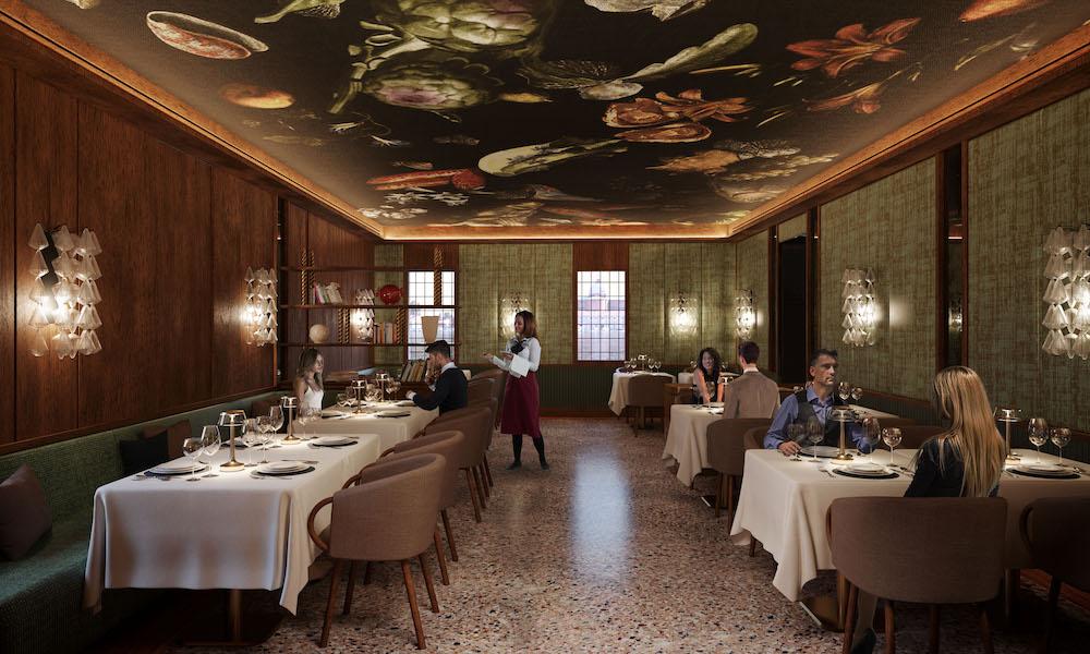 Render of dark green botanical ceilings in F&B area of hotel