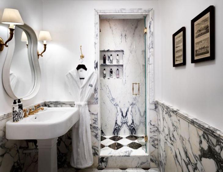 The Ned marble bathroom lighting