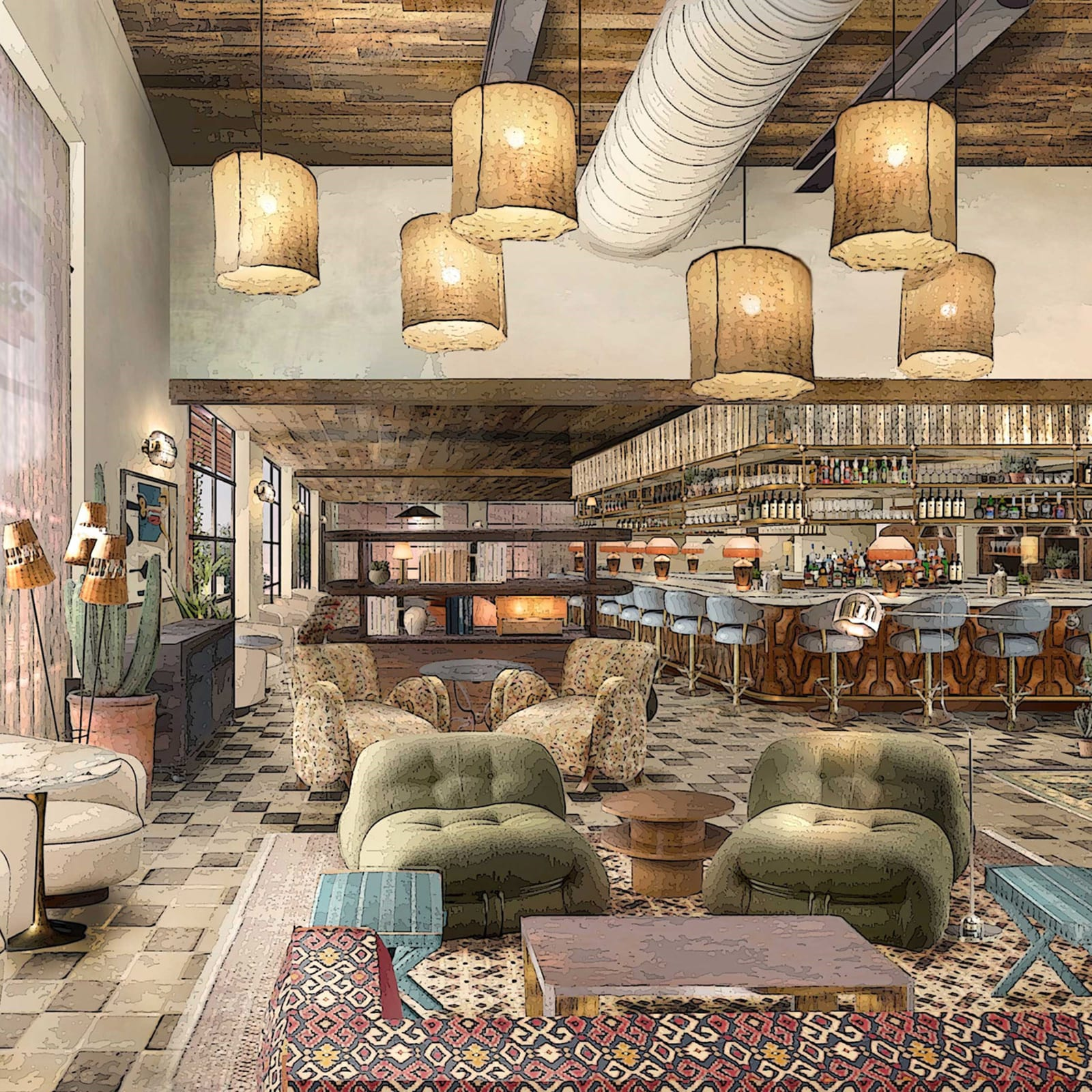Render of bar inside Austin property