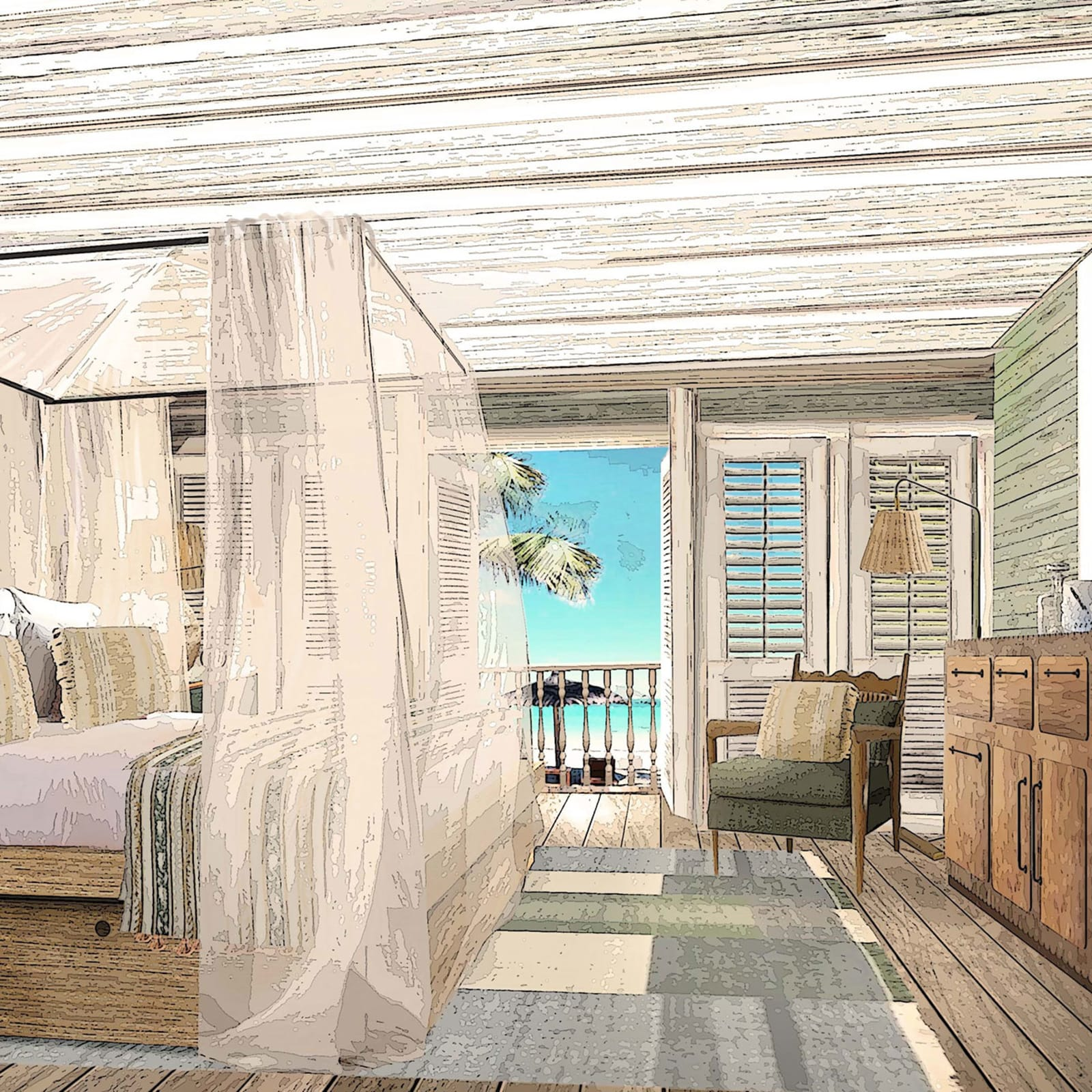 Render of Soho Beach House in the Caribbean