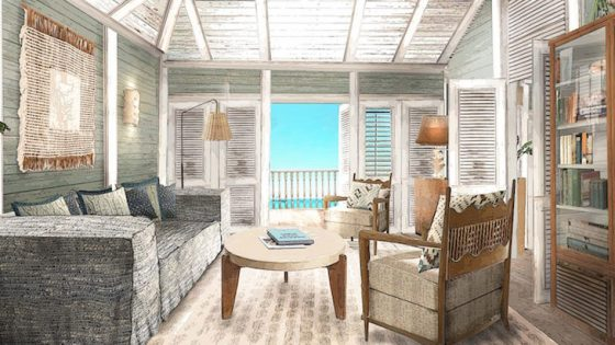 Render of lounge inside Soho Beach House in the Caribbean