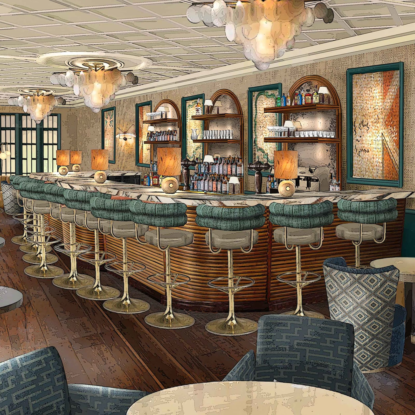 Render of bar inside the brand's Paris property