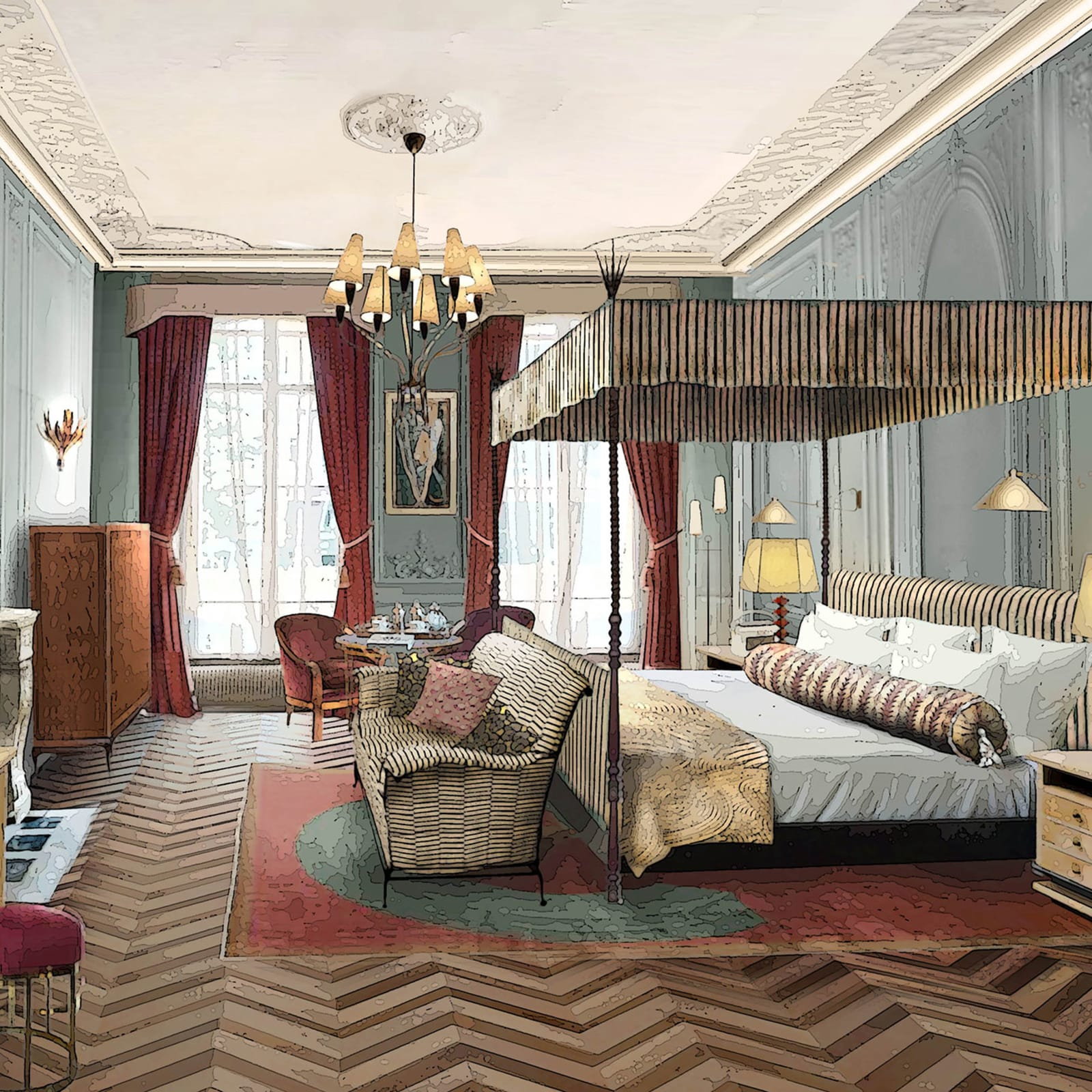 Render of guestroom in the brand's Paris property