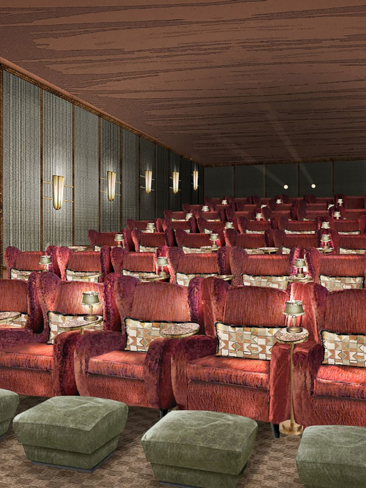 Interior render of cinema