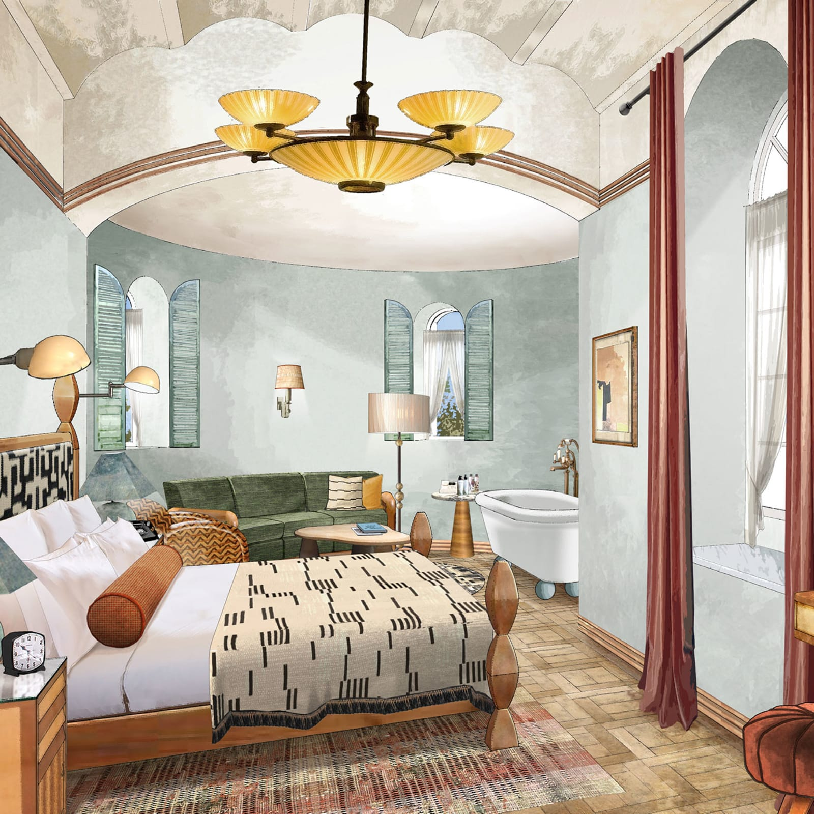 Render of bedroom inside Soho House Tel Aviv