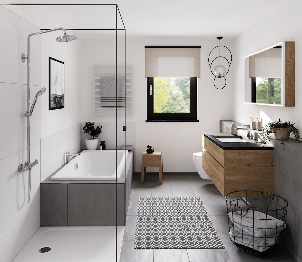 Image caption: For example, the comfortable Cayono Duo bathtub, the floor-level Cayonoplan shower surface and one of the spacious Cayono washbasins ensure the harmonious perfect match. | Image credit: Kaldewei