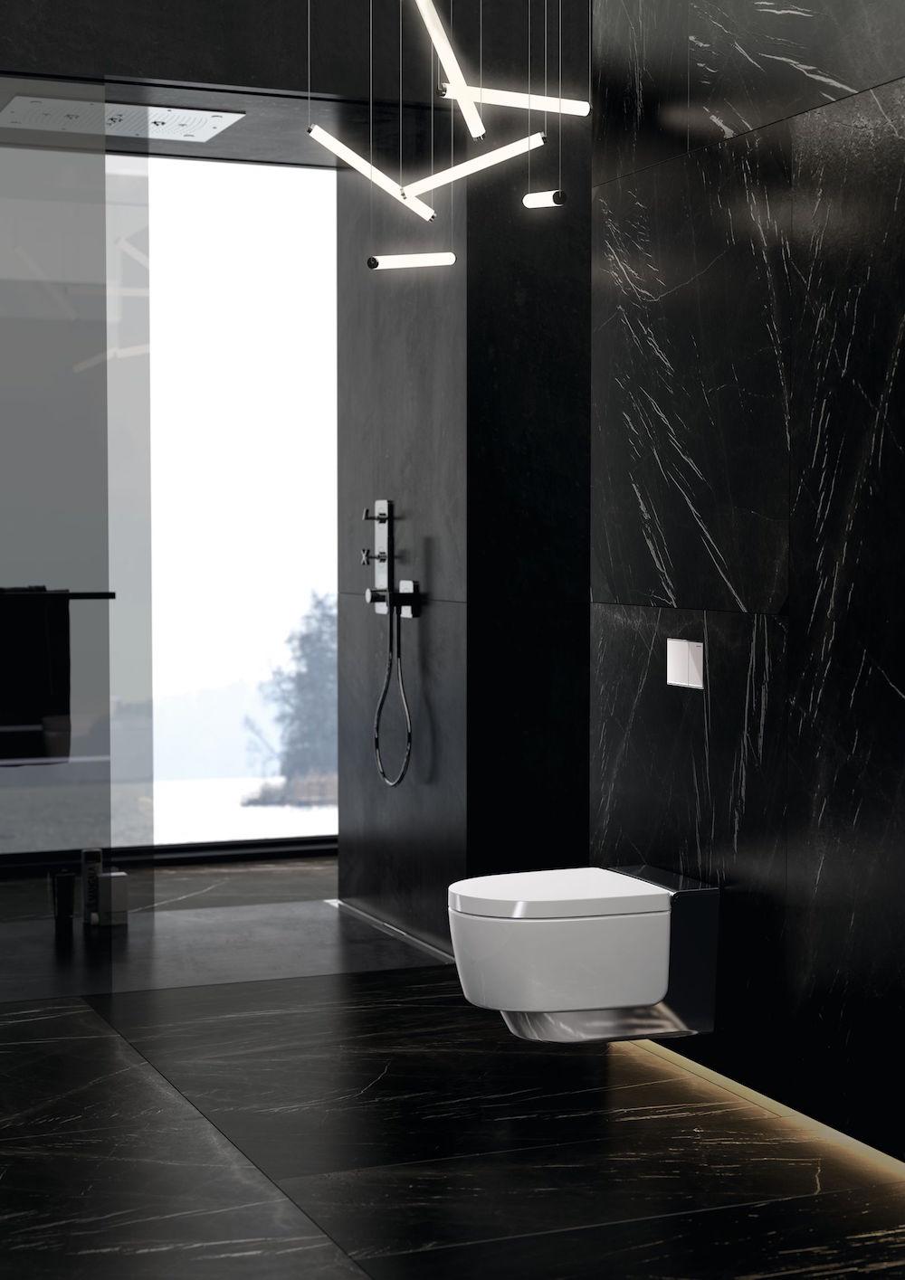 A black modern bathroom design