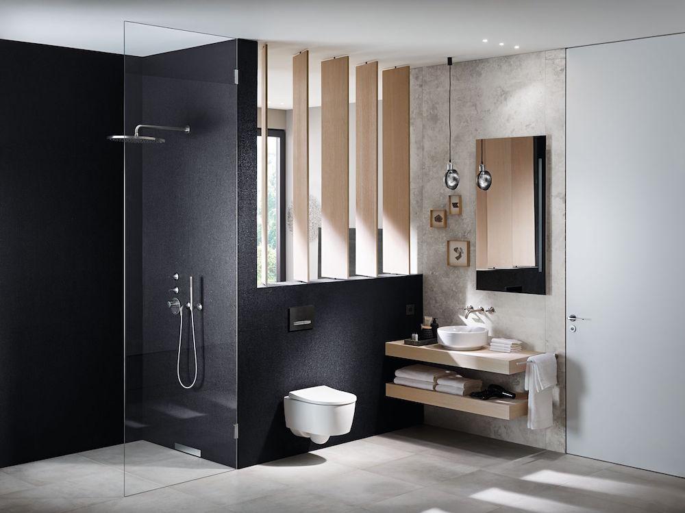A modern, sleek bathroom