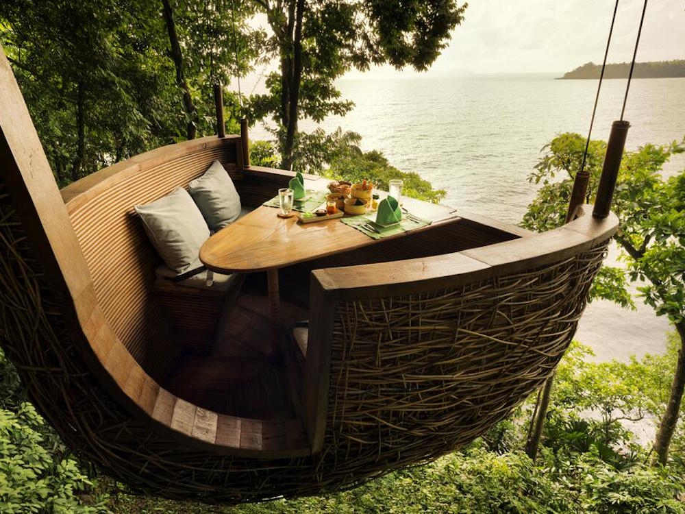 hanging dining basket at Soneva Kiri