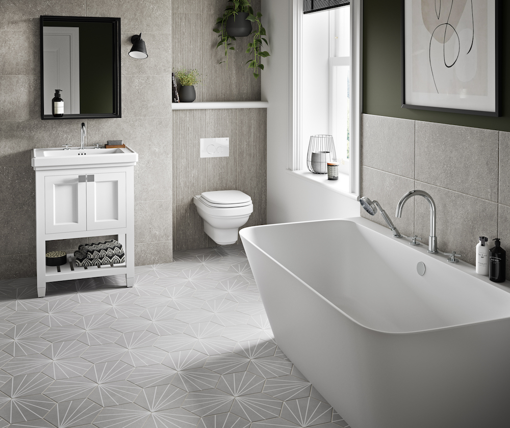 Image of modern bathroom featuring Burlington Riviera collection items