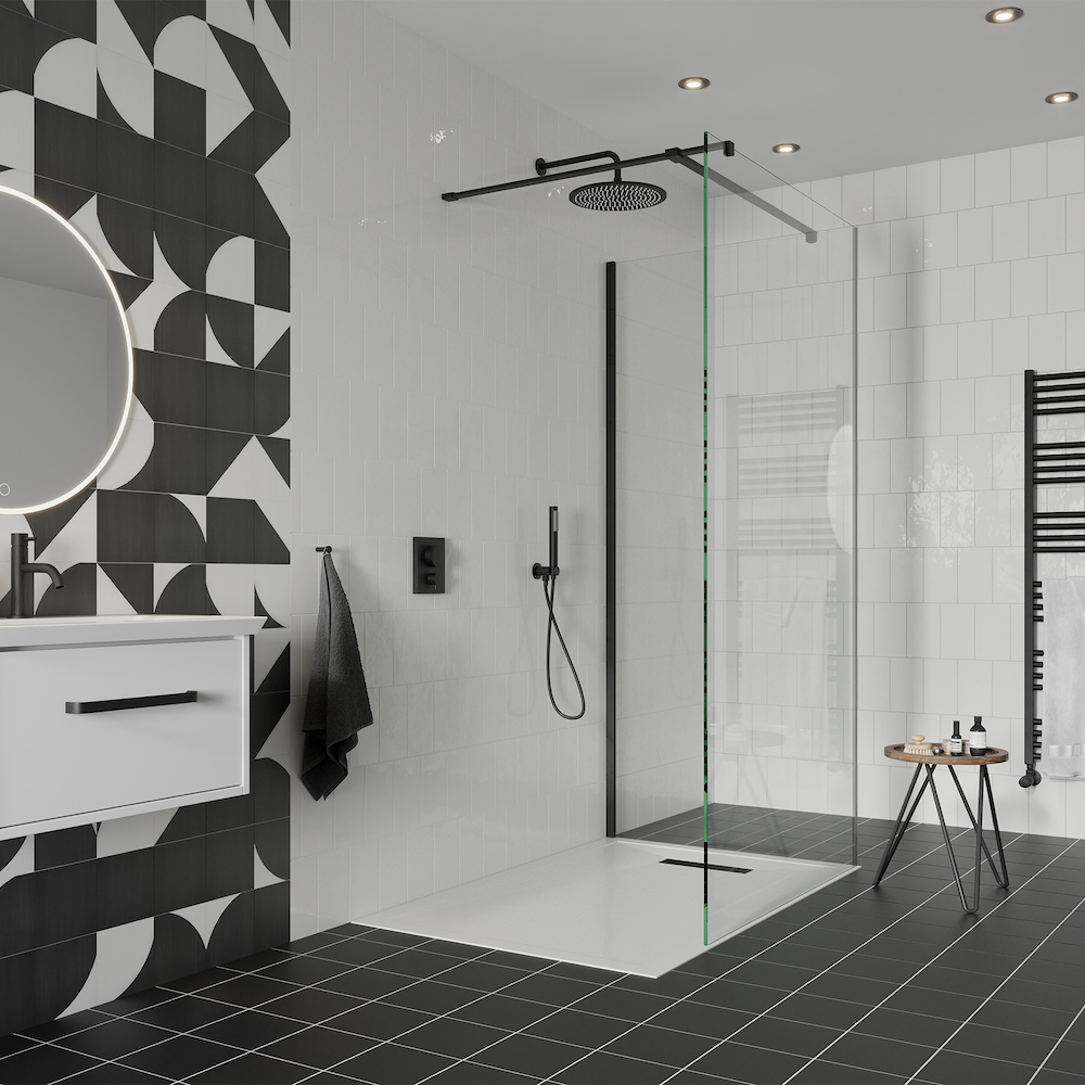 GALLERY 10 matt black glass corner shower
