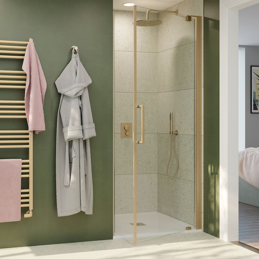 image caption: OPTIX 10 pivot door brushed brass shower. | Image credit: Crosswater