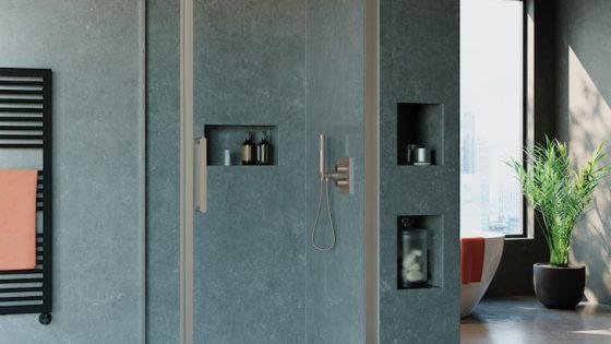Optix 10 Pivot door & side panel Brushed Stainless Steel