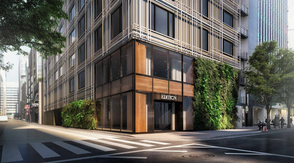 Image caption: Rendering of the entrance of Ginza Maya EDITION. | Image credit: Edition Hotels