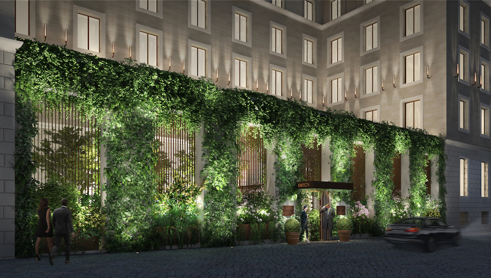 Image caption: A rendering showing the biophilic entrance of Rome EDITION. | Image credit: EDITION Hotels