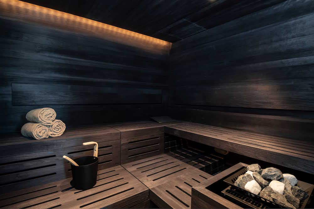 image of low lit sauna
