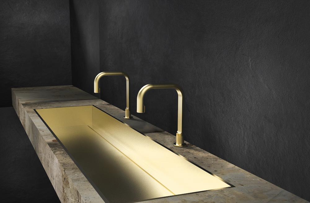 Image of duo basin sink in black room