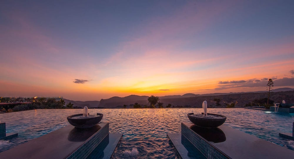 Infinity pool overlooking mountains