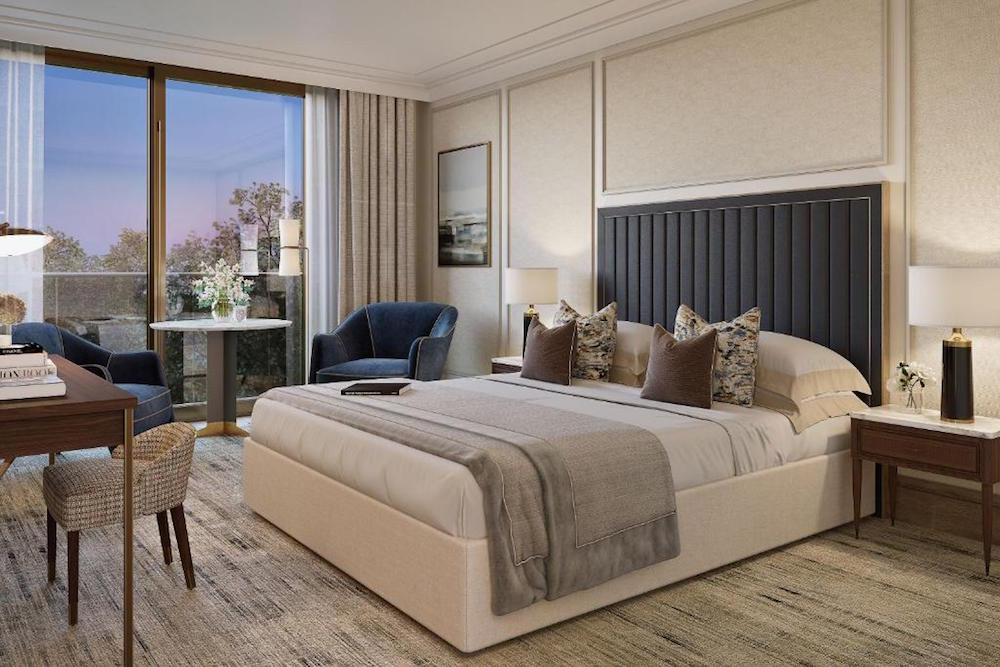 A render of a contemporary guestroom inside the Jumeirah hotel in London