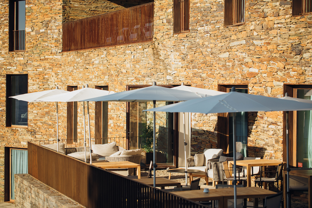Hotel guestroom terraces with canopies