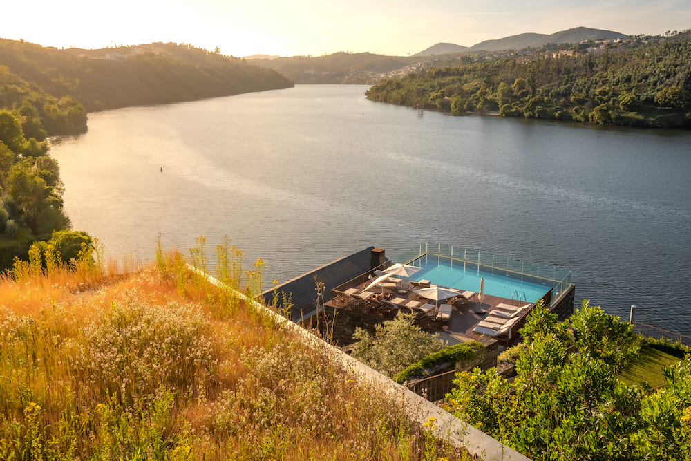 Hotel pool overlooking the Douro River in Portugal