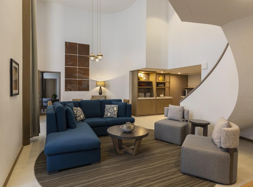 Image caption: A suite inside Hyatt Regency Houston, designed by Stonehill Taylor