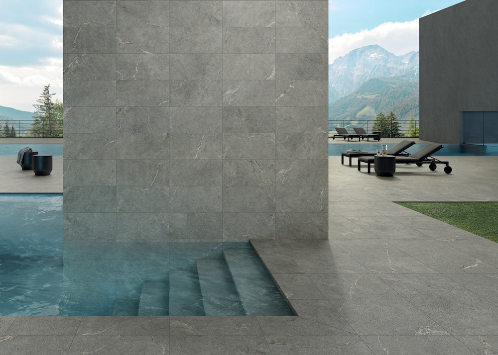Render of architectural pool outside