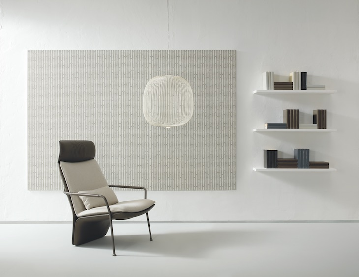 image of clean minimalist room with white mosaic tiles on wall