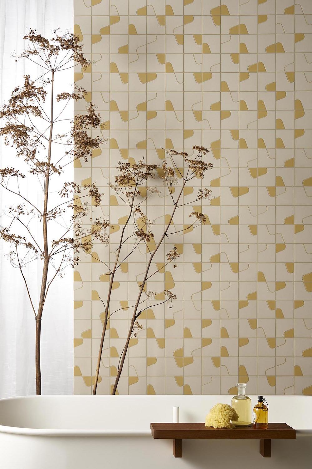 light tiles in bathroom setting