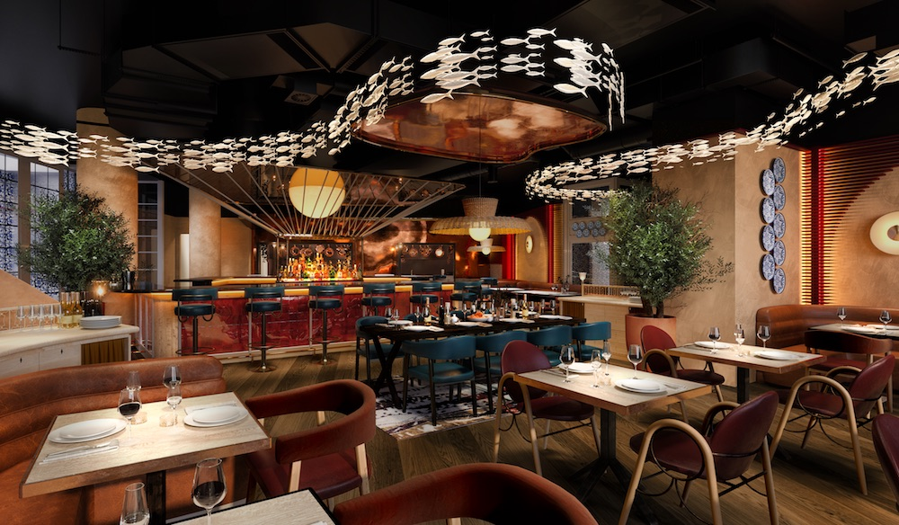 Image caption: A render of the F&B area in the hotel. | Image credit: Goddard Littlefair
