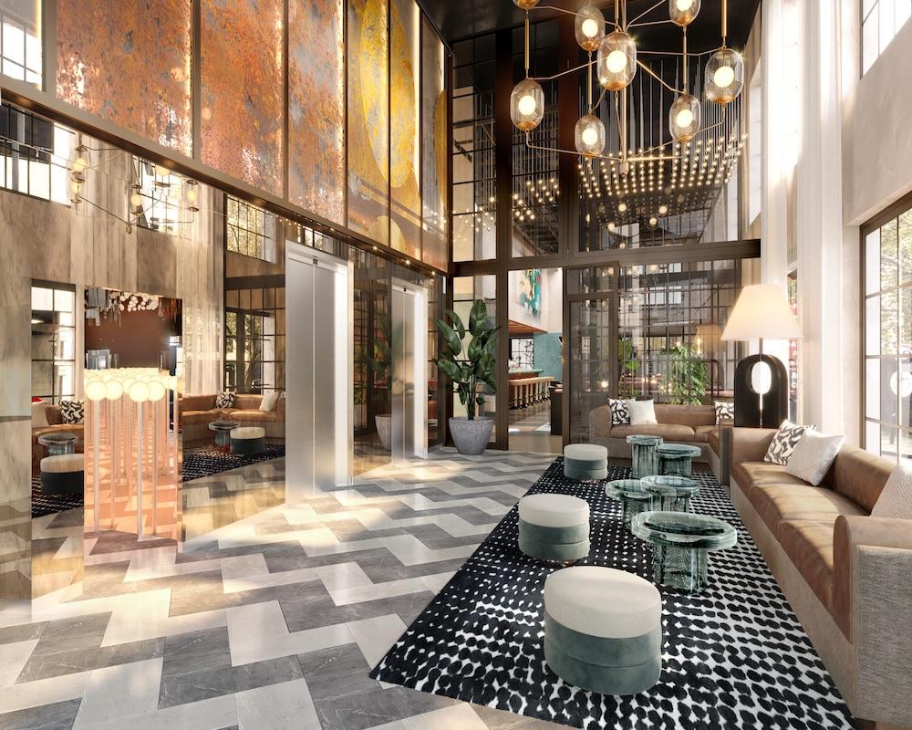Image caption: A render of the lobby inside Mondrian Shoreditch London. | Image credit: Goddard Littlefair