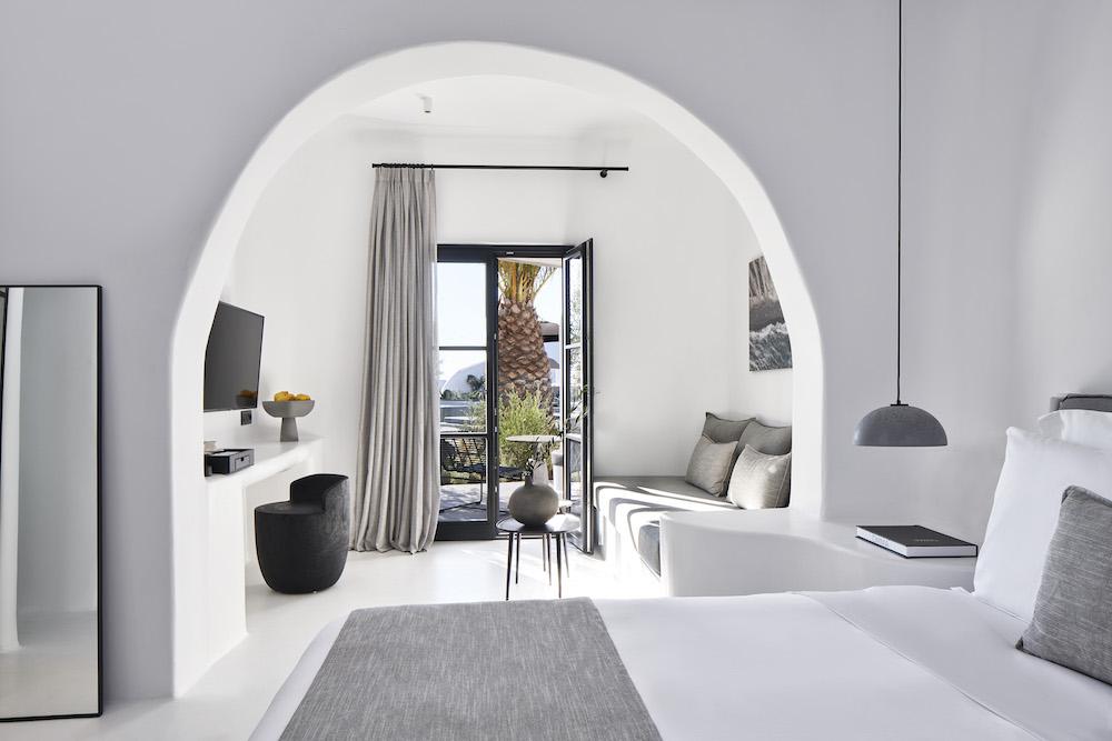White room inside OMMA Santorini