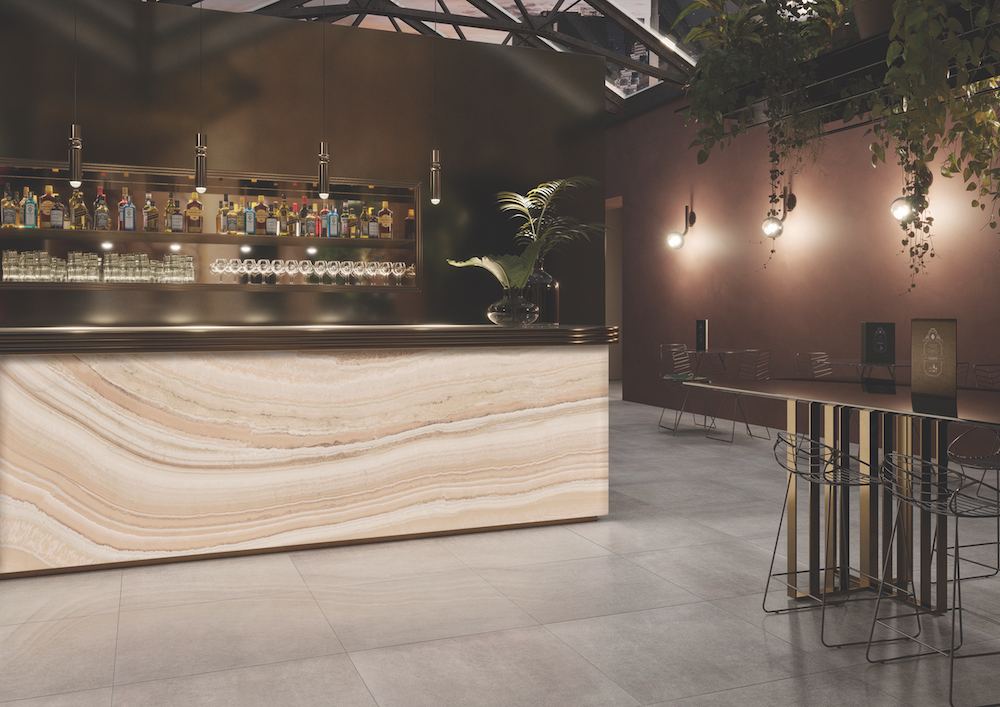 Image caption: Luce features a stunning marble-effect to make areas of the hotel such as bars and lobbies really stand out.