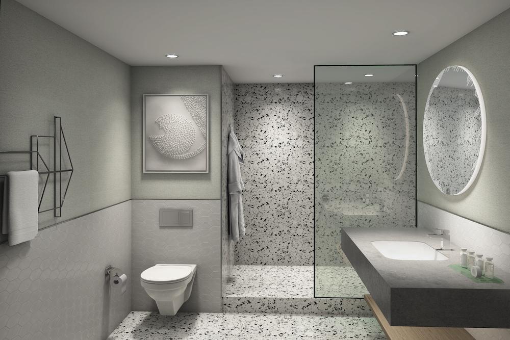 RPW Design render of bathroom inside Sheraton
