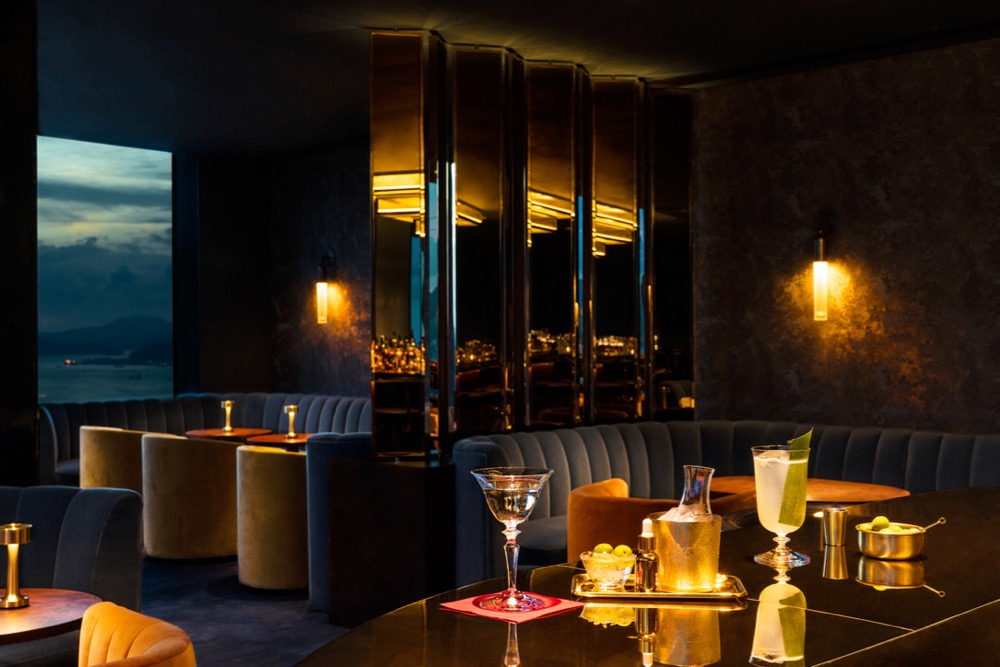 The bar inside the Rosewood Hotel property