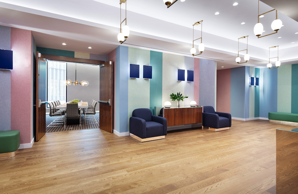 A light and bright meeting space inside the new york hotel
