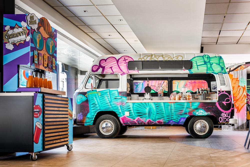 Van in lobby inside nhow Brussels