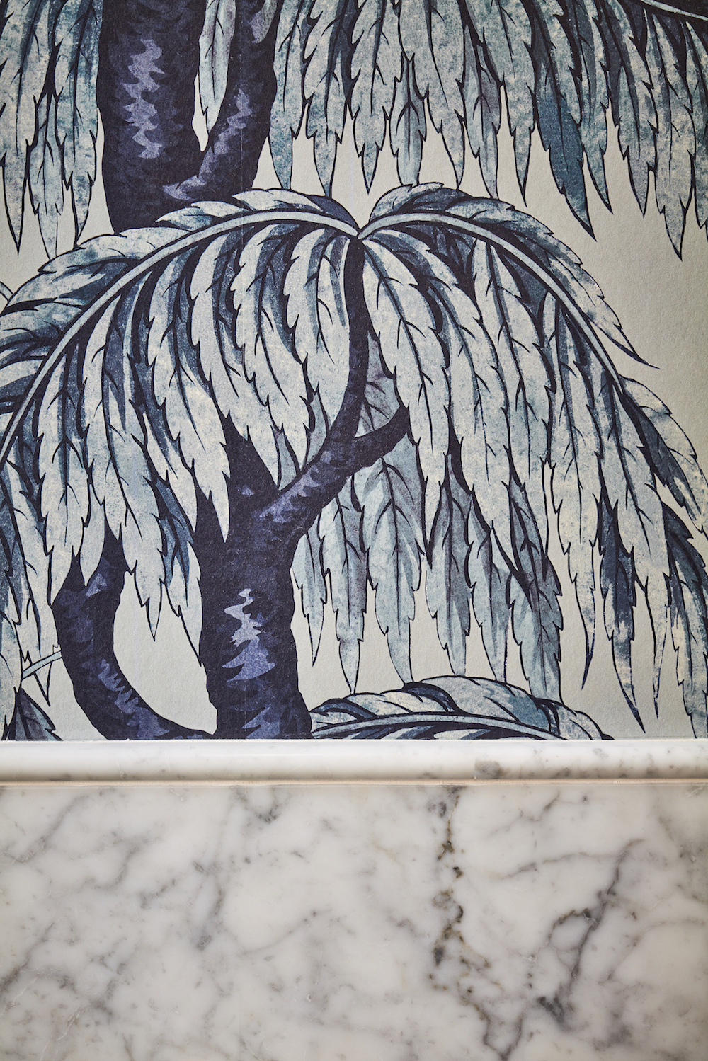 Wallpaper in bathroom inside The Lost Poet
