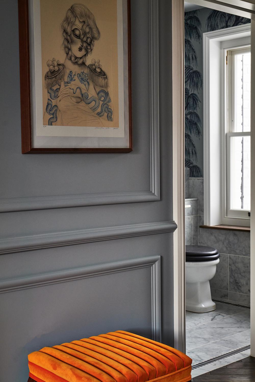 Corridor and bathroom inside The Lost Poet hotel