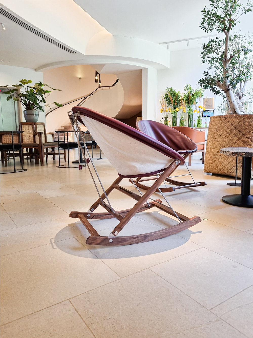 Rocking chair in lobby