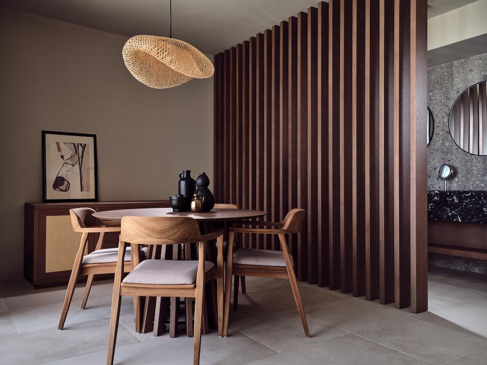 Dark hues in interior design scheme in Crete hotel