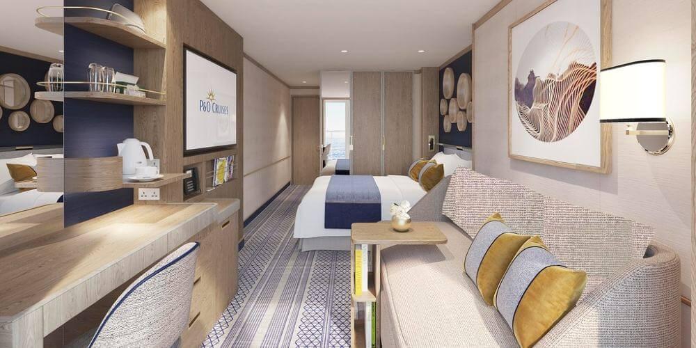 Image caption: Render of cabin inside P&O vessel, designed by Richmond International