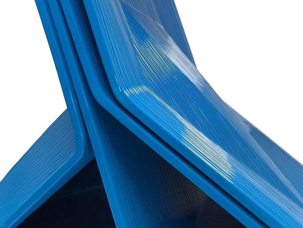Close up of 3D-printed furniture in blue