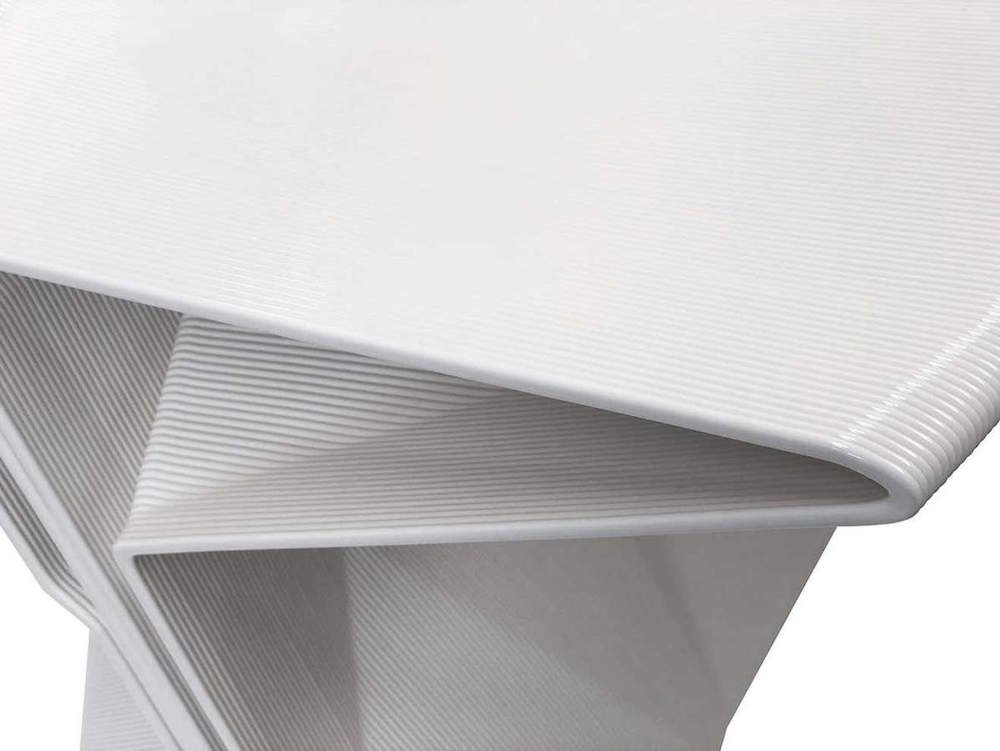 Close up of 3D-printed furniture in white