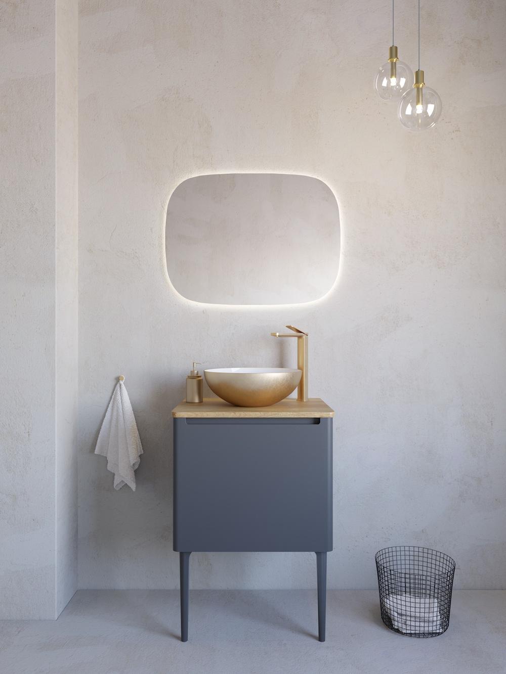 Modern bathroom with lighted mirror