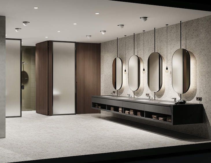 GROHE bathroom room shot featuring infra-red touchless taps