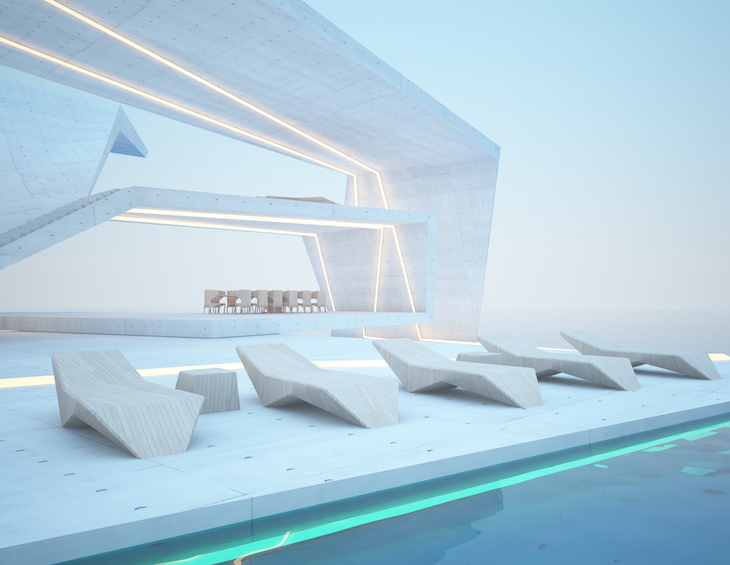 Abstract architectural concrete, wood and glass interior of a modern villa on the sea with swimming pool and neon lighting. 3D illustration and rendering.