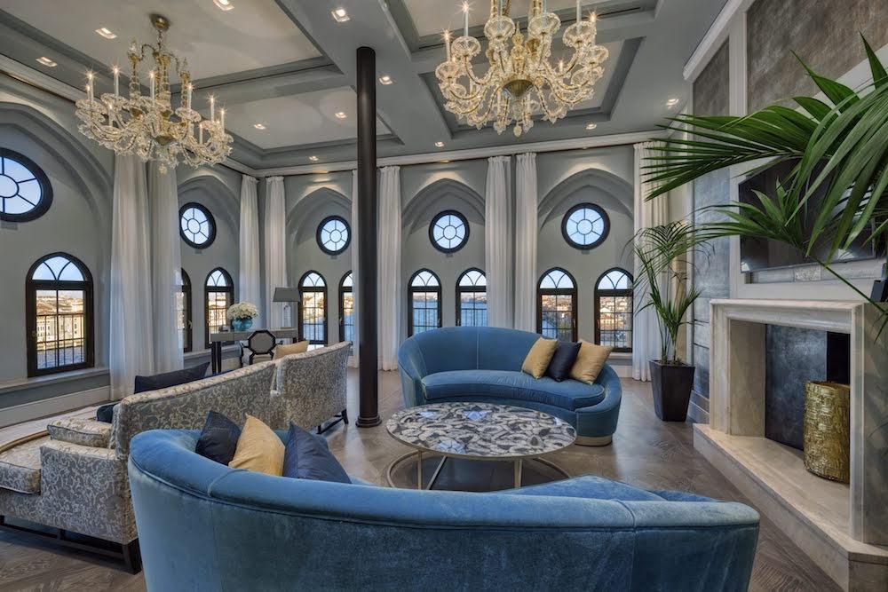 Luxury lounge inside the Hilton in Venice