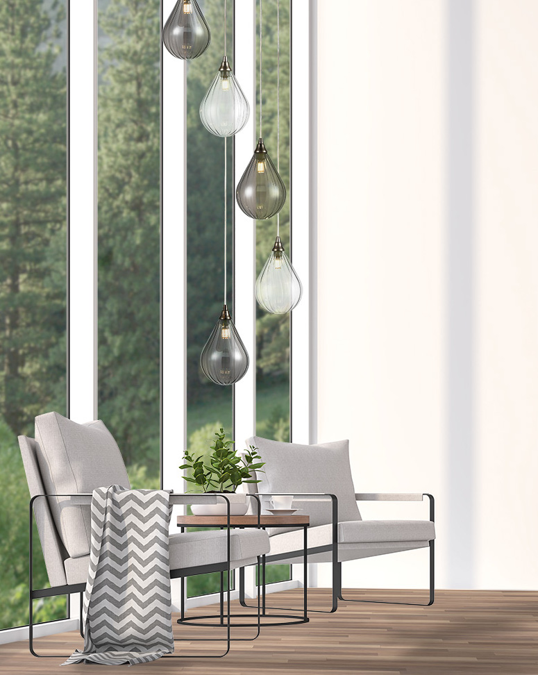 Minimal living room 3d rendering image.The Rooms have white wooden floors and white walls. There are white window overlooking to outside.